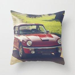 Triumph Spitfire, classic British sportscar, English Auto fine art print, old car Throw Pillow