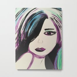 Colorful Girl. Abstract Girl Purple Green.Pop Art by Jodilynpaintings. Figurative Abstract Pop Art. Metal Print