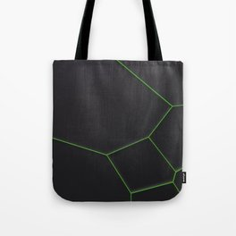 Green voronoi grate on black background Tote Bag