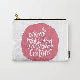 Well Read Woman - Feminist Book Nerd Quote - Pink Carry-All Pouch
