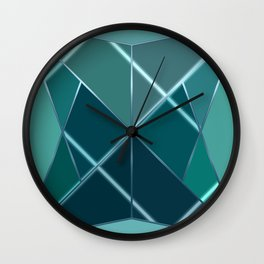 Mosaic tiled glass with black rays Wall Clock