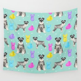 Schnauzer dog breed peeps marshmallow easter spring dog pattern gifts schnauzers Wall Tapestry