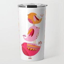 Happy Pink And Orange Birds And Blooms Travel Mug