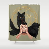 stiles Shower Curtains featuring Setting Sun by @cuisle