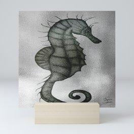 Silver Seahorse drawing Mini Art Print