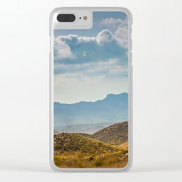 Panoramic view to the mountains in motion, Spain. Dramatic toning Clear iPhone Case
