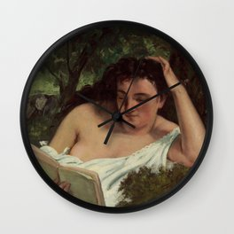 Gustave Courbet - A Young Woman Reading Wall Clock