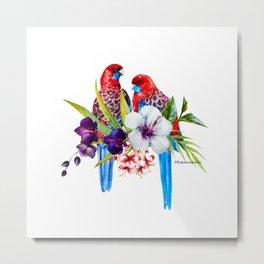Beautiful Watercolor Australian Rosella Parrots Metal Print