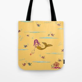 Fashionable mermaid - yellow-orange Tote Bag