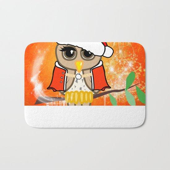 Funny christmas owl Bath Mat