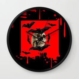 BAT INFESTED HAUNTED SKULL ON BLEEDING HALLOWEEN ART Wall Clock