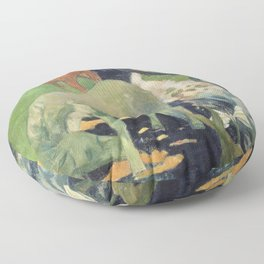 The White Horse by Paul Gauguin Floor Pillow