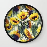 grey Wall Clocks featuring Sunflowers Forever by micklyn