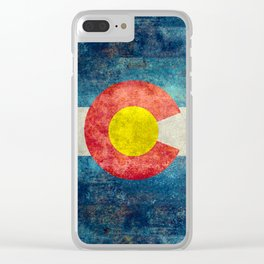 Colorado State Flag in Vintage Grunge Clear iPhone Case