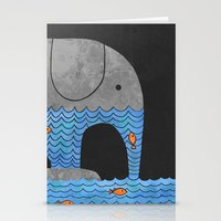 frame Stationery Cards featuring Thirsty Elephant  by Terry Fan