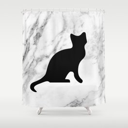 Marble black cat Shower Curtain