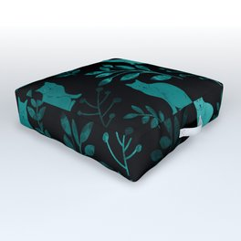Watercolor Floral and Cat IV Outdoor Floor Cushion