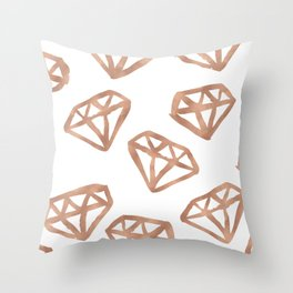 Rose gold diamond print Throw Pillow
