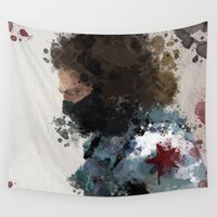 winter soldier Wall Tapestries featuring Winter Soldier Water Colour by Scofield Designs