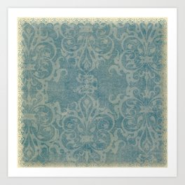Antique rustic teal damask fabric Kunstdrucke