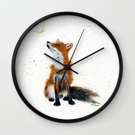 Maple Key Fox - animal watercolor painting Wall Clock
