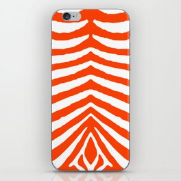 Fluorescent Orange Neon and White Zebra Stripe iPhone Skin
