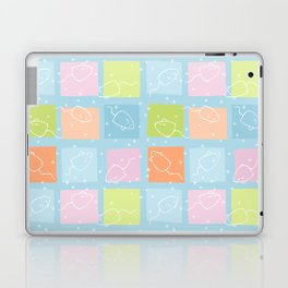 Cat Blobs Mice blue Laptop & iPad Skin