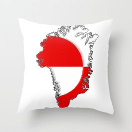Greenland Map with Flag Throw Pillow