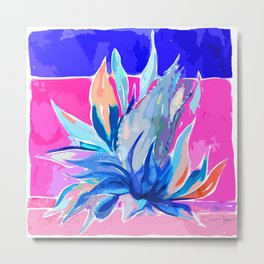 Agave From Toledo, Spain Abstract, Blue and Hot Pink Bright Metal Print