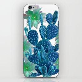 SURREAL BLUE PEAR CACTUS & FLOWERS DESERT ART iPhone Skin