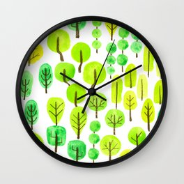 Doodled trees watercolor Wall Clock