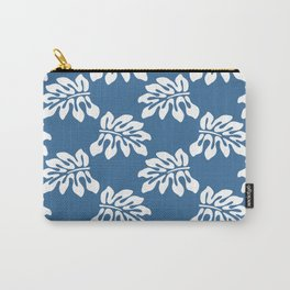 Blue White Tropical Leaf Pattern Carry-All Pouch