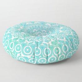 Sea Green Ombre, Indian Mandala Pattern Floor Pillow
