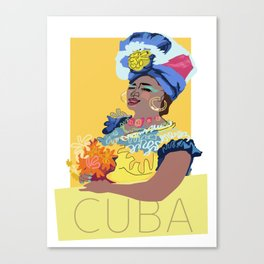Cuban Lady With Flowers Canvas Print
