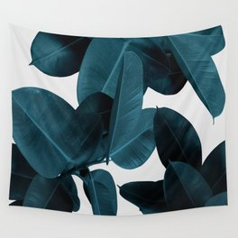 Indigo Blue Plant Leaves Wall Tapestry
