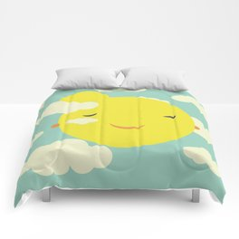 Miss Sunshine in clouds Comforters