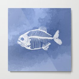 Memoria Amazonica - Blue Pastel Piranha Metal Print