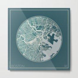Boston Map Planet Metal Print