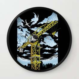 Tower Crane In The SKY Wall Clock