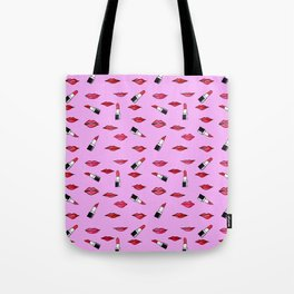 Lips and lispticks pattern in pinkish background Tote Bag
