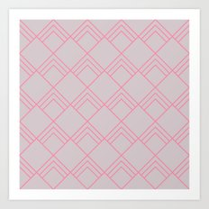 Diamond Art Deco; - Pink Art Print
