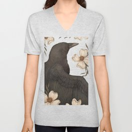 The Crow and Dogwoods Unisex V-Neck