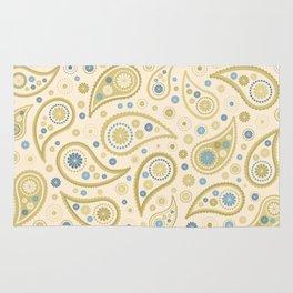 Paisley Funky Design Cream Golds Blues Rug