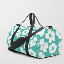 Hibiscus Flowers in Turquoise Blue Duffle Bag