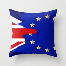 Union Jack and EU Blend Throw Pillow