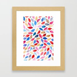 Colorful leaves pattern in watercolor Framed Art Print