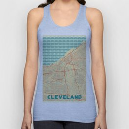 Cleveland Map Retro Unisex Tank Top