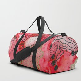 red alcohol ink flowers Duffle Bag
