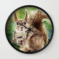 squirrel Wall Clocks featuring Squirrel by Anna Shell