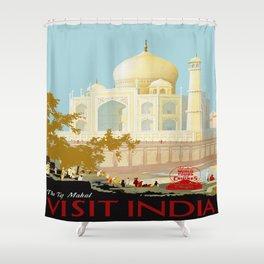 Visit India - Taj Mahal - Vintage Travel Poster Shower Curtain